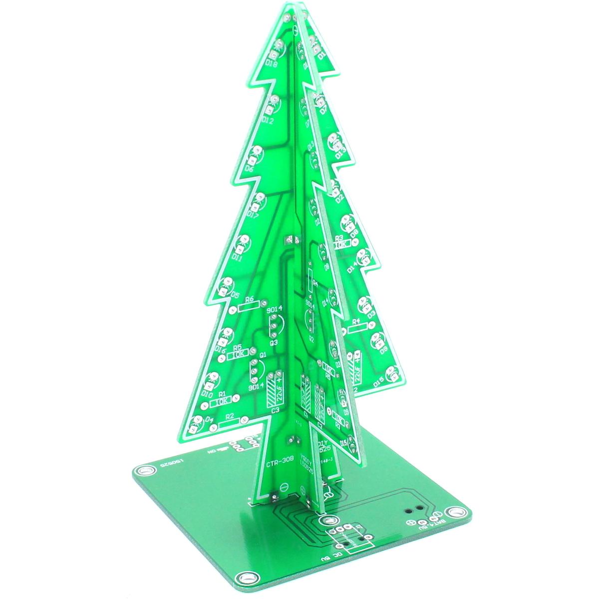 LED Christmas Tree DIY Kit XMAS Unsoldered Practice Gift Flux Workshop