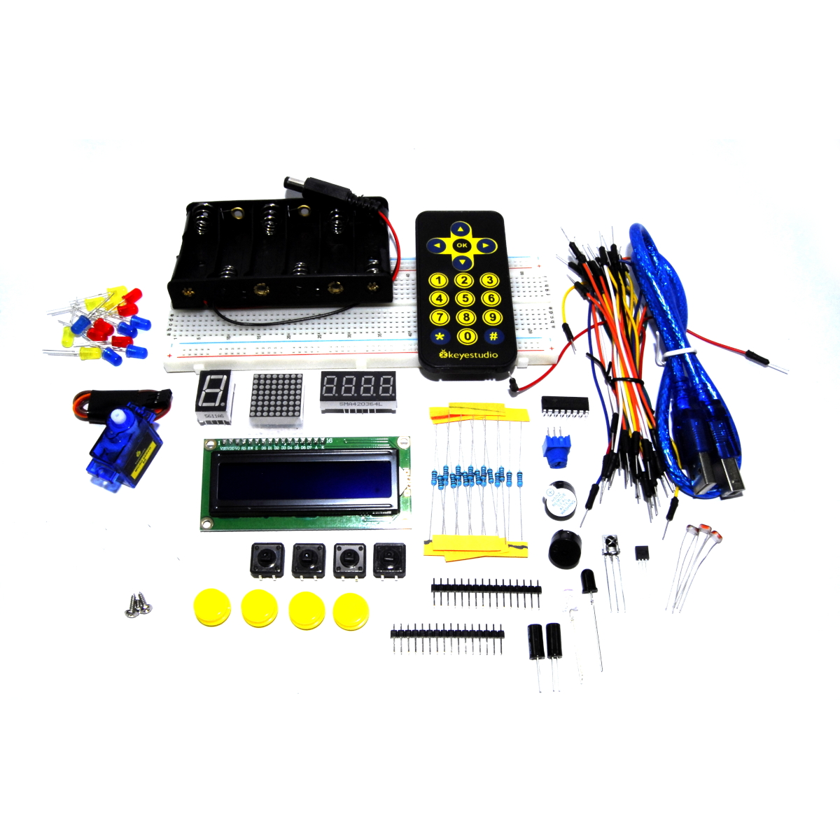 Details about Keyestudio Basic Starter Set KS0072 16x2 Kit Project Arduino  UNO Flux Workshop